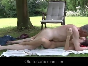 Cutie young girlfriend outdoor doggy style fucking old cock