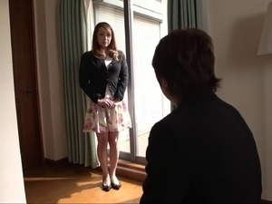 Buxom sweater girl strips to be tied up for his pleasure