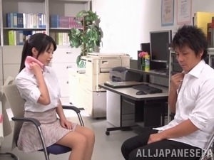 Japanese teacher and student make love in the classroom