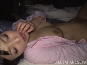 sleeping japanese wife with natural tits gives lusty blowjob in POV