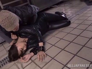 Japanese slave bound in leather is dominated and fucked