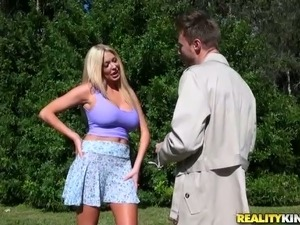 Randy dude gives rimjob to one bosomy blonde milf