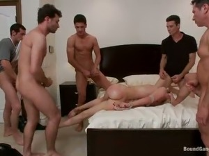 Whore wife gets her twat stretched by several studs while her husband is out