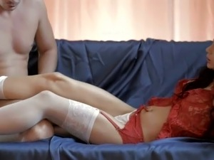 Raven haired beautiful mom in red night dress gets ass fucked in sideways pose