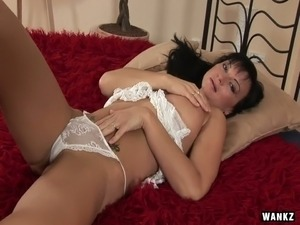 Perverted milf Tessa is playing with boobs and sex toy