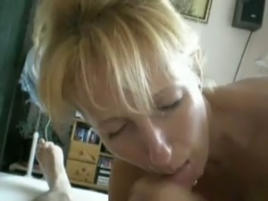 Blonde mom works on my cock till it explodes with jizz