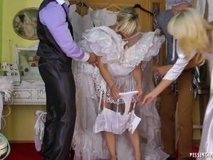 Very horny bride succumbs to hardcore fucking at the dressing room on her...