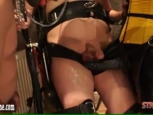 Femdom dominates slaves into cock suckers and anal fuckers