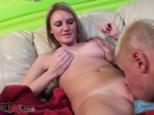 Jordan Denae pleases her shaved peach and delivers a sensual blowjob