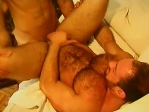Hairy guy hangs on for a hard cock and a deep anal banging