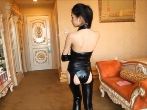Beautiful Japanese girl in spandex