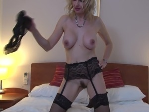 British horny housewife screw herself with a toy dick solo model
