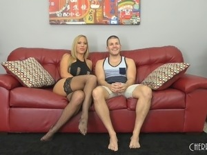 Busty blonde enjoys getting a good humping on the leather couch