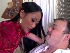 Horny geisha gives the white guy a chance to get inside her butthole
