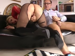 Hot milf in amazing red lipstick fucks a horny old man