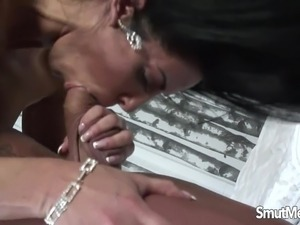 Brunette MILF fucked and eats cum