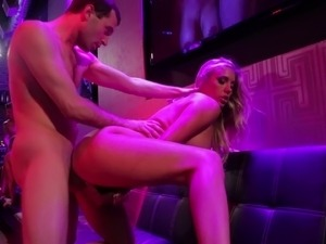 Pornstar with fake tits banging on dicks in an orgy party group sex