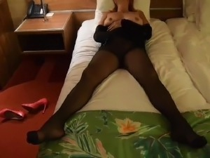 Mature Masturbating in Black Pantyhose