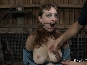 Slave tits tied with ropes tight in BDSM porn shoot