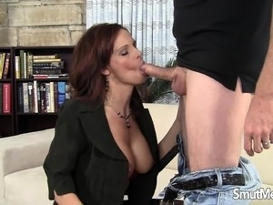 Busty redhead milf in stockings is addicted to hard meat and rough sex