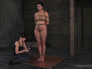 Slave with nice ass getting spanked while yelling in BDSM porn