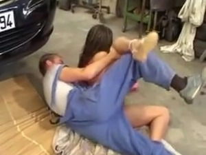 Vintage Group sex in a french garage