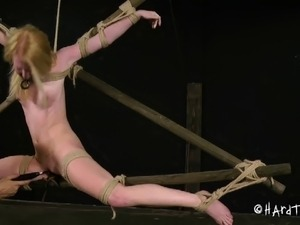 Stripped bondage slave tits pegged lovely in BDSM porn