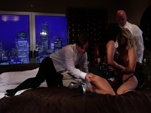 Blonde and her Asian-American friend are having their pussies drilled