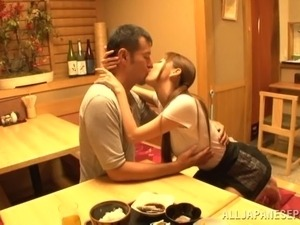 Hardcore Japanese wife Maki Takei gets pussy banged in kitchen