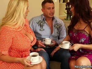Spoiled moms seduce young wanker for steamy group sex