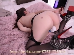 Rebecca Volpetti orgasm with vibrator, high heels, stockings