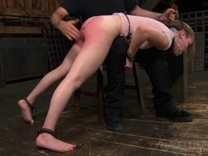 Slave hot ass spanked mercilessly in BDSM porn shoot