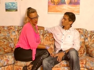 Lana Vegas loves wearing leather pants and she loves to fuck young men